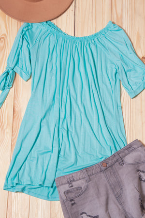 Aqua Off Shoulder Blouse