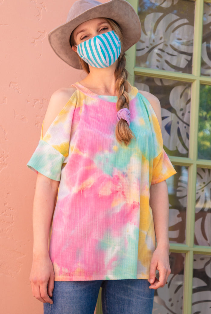 Mint Vertical Stripe Cotton Re-Useable Mask