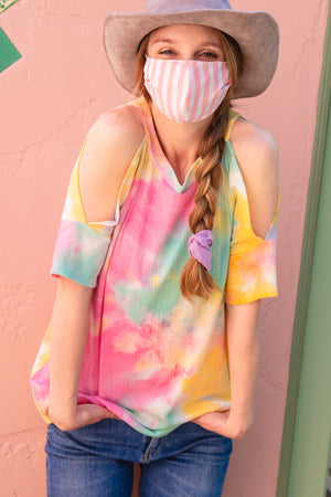 Pink Vertical Stripe Cotton Re-Useable Mask