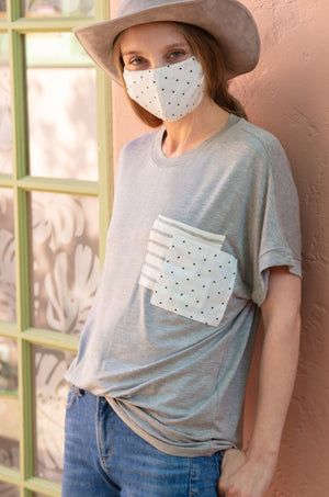Ivory Polkadot Cotton Re-Useable Mask