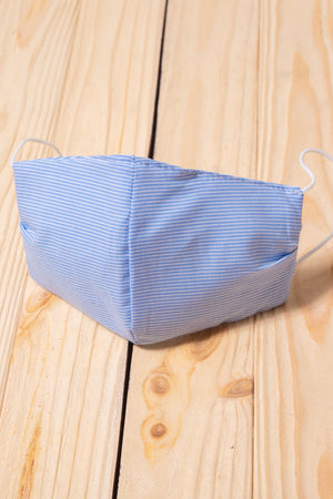 Chambray Stripe Cotton Re-Useable Mask
