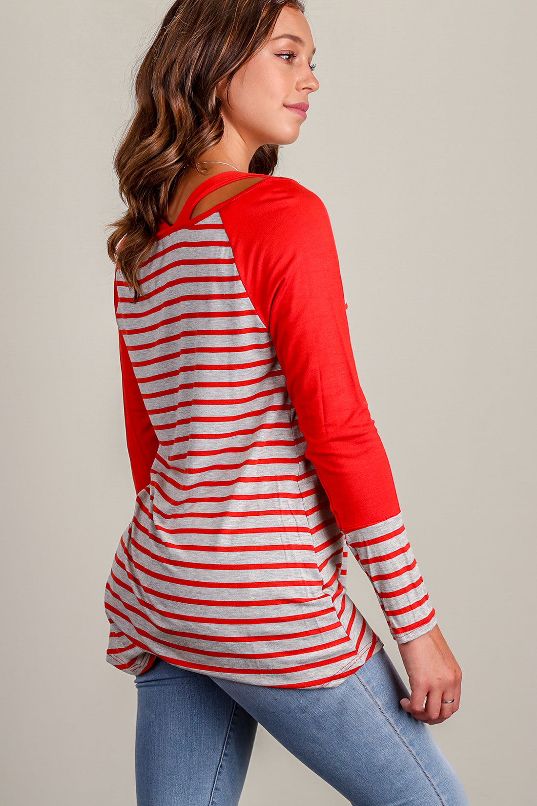 Orange Stripe Raglan Blouse
