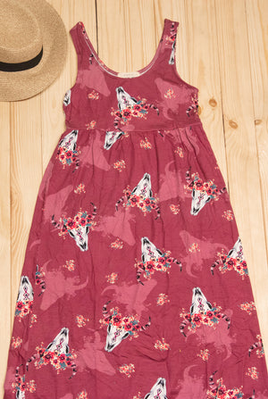 Maroon Cattle Head Floral Maxi Dress (3 pcs)