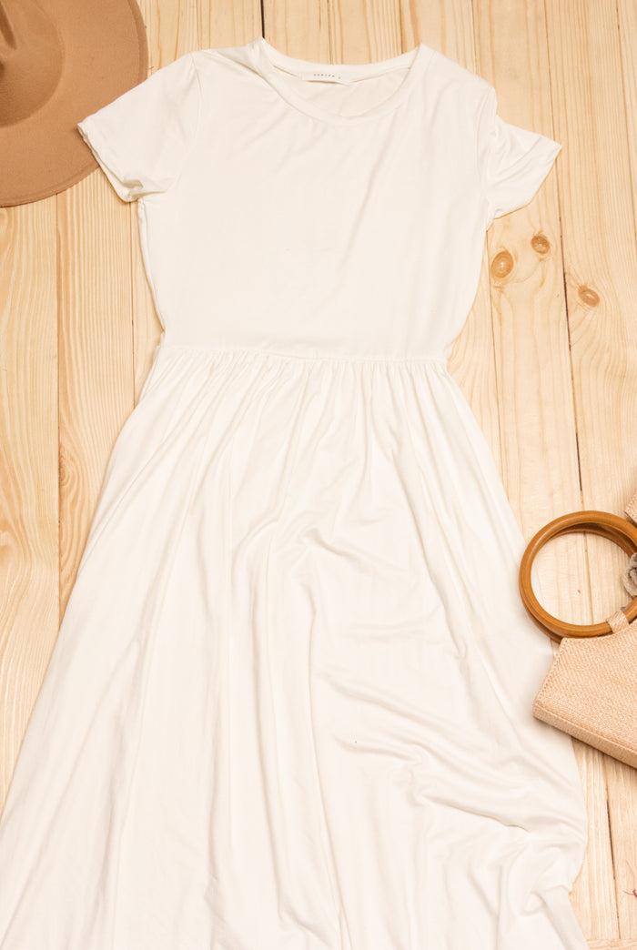 Ivory Solid Maxi Dress