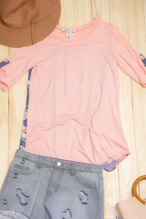 Coral & Denim Back Detail Blouse