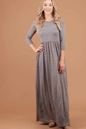 Grey 2 Tone Solid Maxi Dress