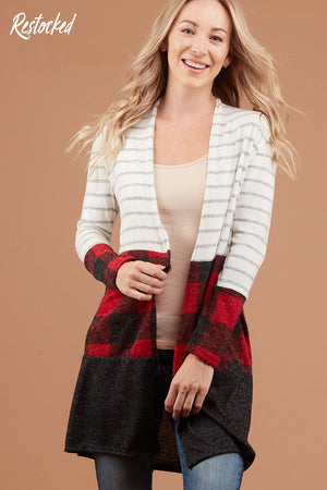 Ivory Stripe Colorblock Cardigan