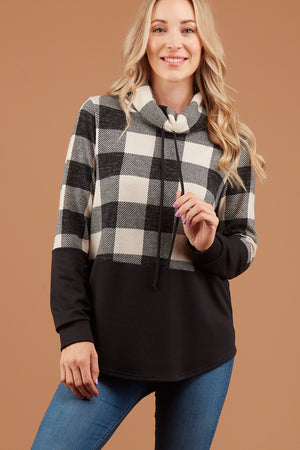 Ivory Plaid Colorblock Cowl Sweater