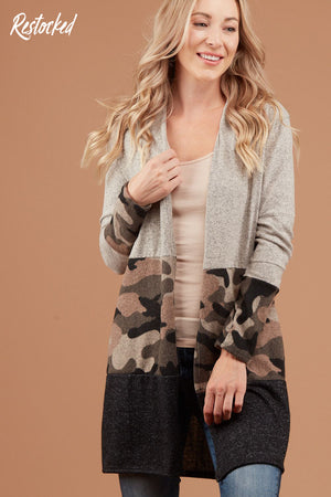 Grey Camo Colorblock Cardigan