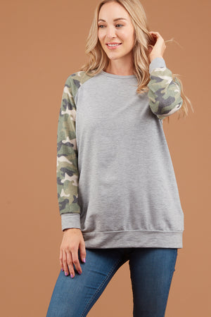 Grey Camo Raglan Sweater