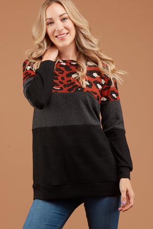 Orange Thermal Animal Print Colorblock Sweater