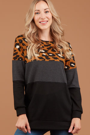 Thermal Mustard Animal Print Colorblock Sweater