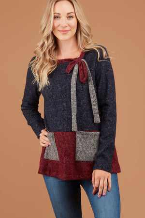 Navy Soft Colorblock Sweater