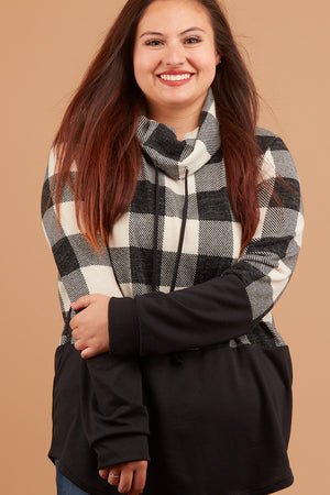 Plus Ivory Plaid Colorblock Cowl Sweater