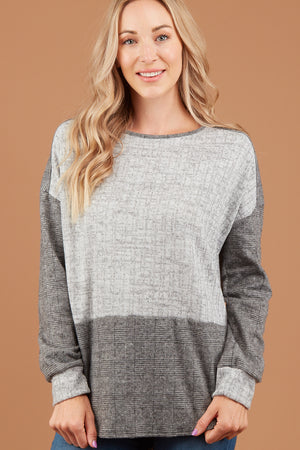 Grey Plaid Colorblock Sweater