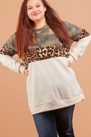 Plus Camo Taupe Animal Colorblock Sweater