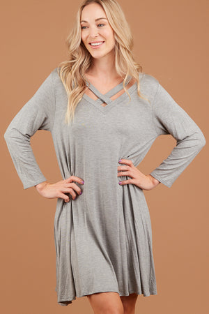 Heather Grey Criss Cross Dress