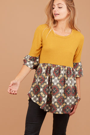 Mustard Thermal Plaid Design Blouse