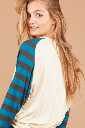 Taupe Stripe Holiday Blouse