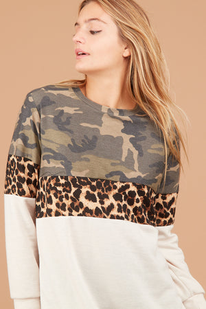 Camo Taupe Animal Colorblock Sweater