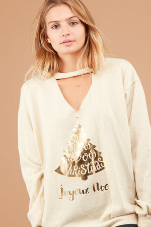 Oatmeal Holiday Sweater