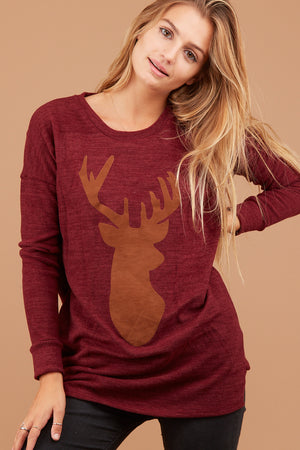 Burgundy Holiday Pocket Sweater