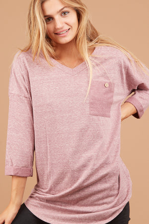 Mauve 2 Tone Pocket Blouse