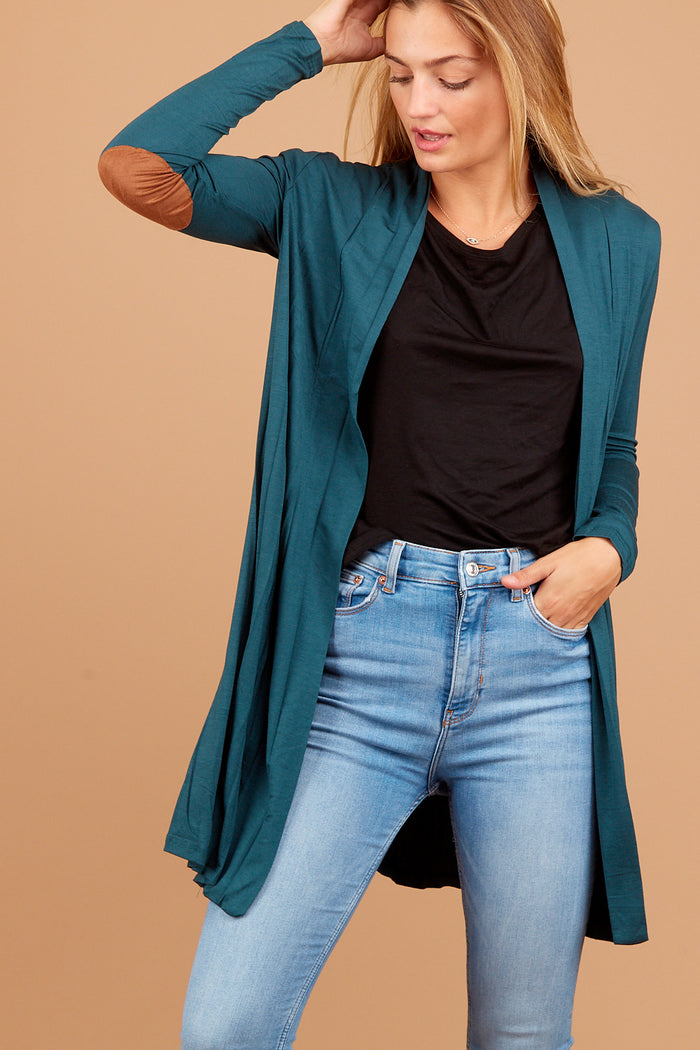 Teal Elbow Patch Cardigan