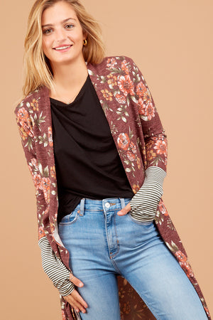 Burgundy Floral Stripe Sleeve Cardigan