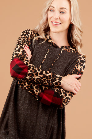 Black Animal Print Elbow Patch Hoodie