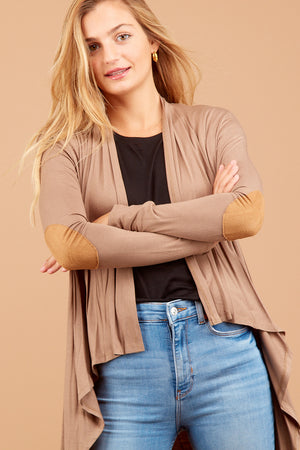Mocha Elbow Patch Cardigan