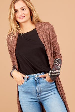 Brown Plaid Design Cardigan