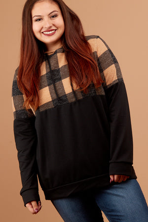 PLUS Taupe & Black Plaid Hoodie