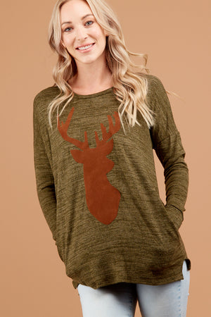 Olive Marled Holiday Sweater