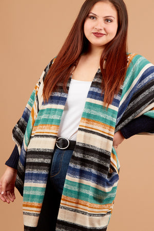Plus Stripe Thick Cardigan