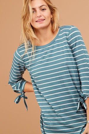Teal Stripe Tie Sleeve Blouse