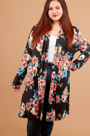 Plus Black Floral Cardigan