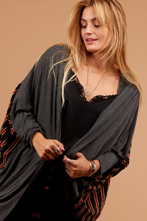 Charcoal Vertical Lined Cardigan