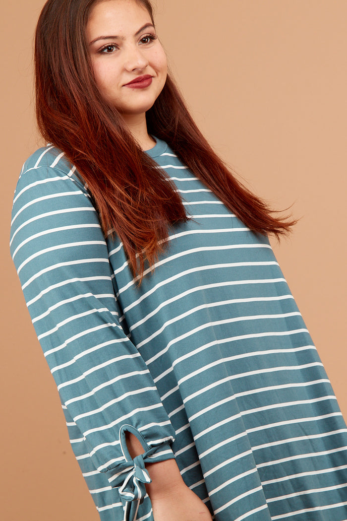 Plus Blue Stripe Tie Sleeve Blouse
