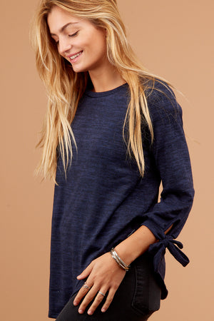 Navy Solid Tie Sleeve Blouse