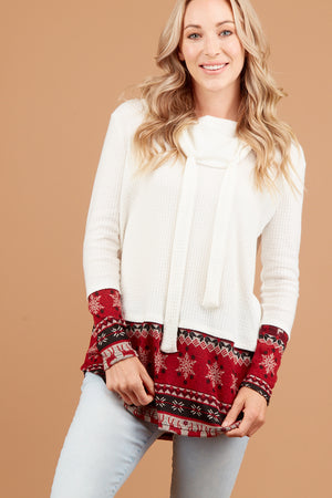 Red & Ivory Thermal Holiday Cowl Sweater