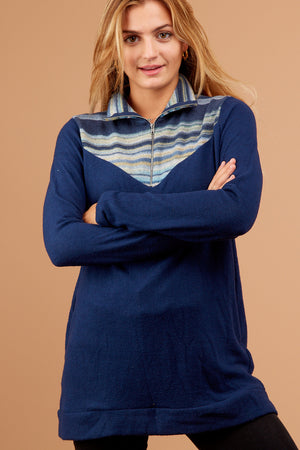 Navy Stripe Zip Down Sweater