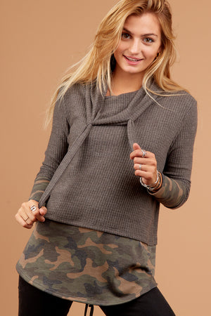 Grey Camo Cowl Sweater