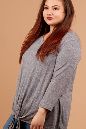Plus Charcoal 2 Tone Tie Sleeve Blouse