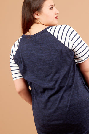 Plus Navy Hacci Stripe Blouse