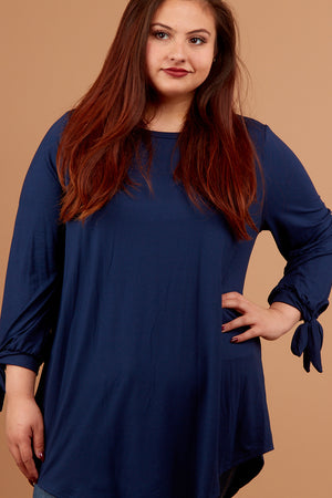 Plus Navy Tie Sleeve Blouse
