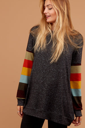 Black Multi Stripe Sleeve Sweater