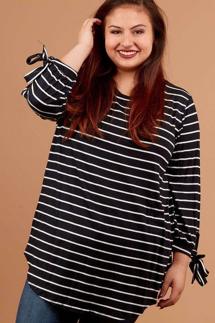 Plus Black Stripe Tie Hem Blouse