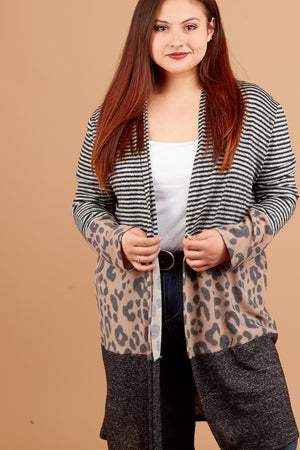 Plus Mocha Animal Colorblock Cardigan