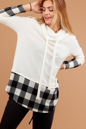 Ivory Thermal Plaid Cowl Sweater